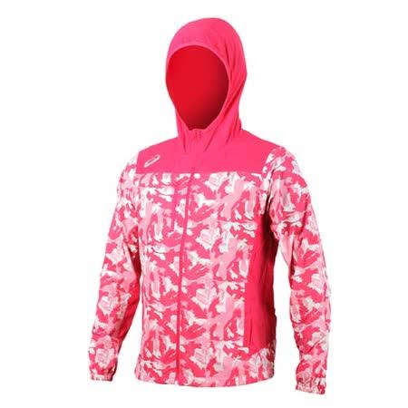(男) ASICS 平織外套-連帽外套 慢跑 路跑 亞瑟士 桃紅白