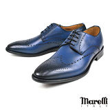 【Marelli】時尚雕花德比紳士鞋 藍色(164F-NANY)