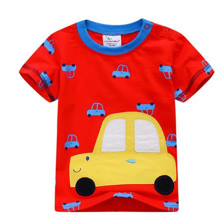 上衣 男童 微笑车  欧美经典儿童纯棉短袖T恤(T074)