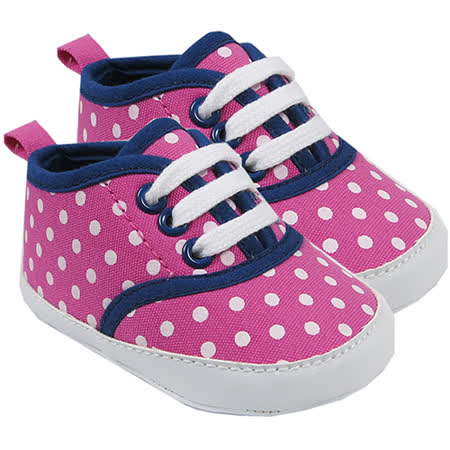 【HELLA 媽咪寶貝】美國 luvable friends  嬰幼兒防滑學步鞋_粉色點點 (11374)
