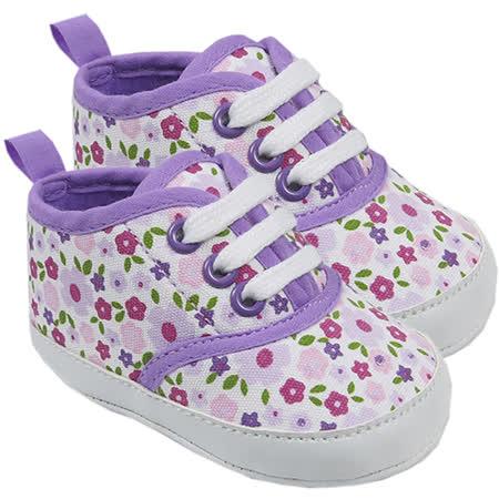【HELLA 媽咪寶貝】美國 luvable friends  嬰幼兒防滑學步鞋_紫色碎花 (11377)