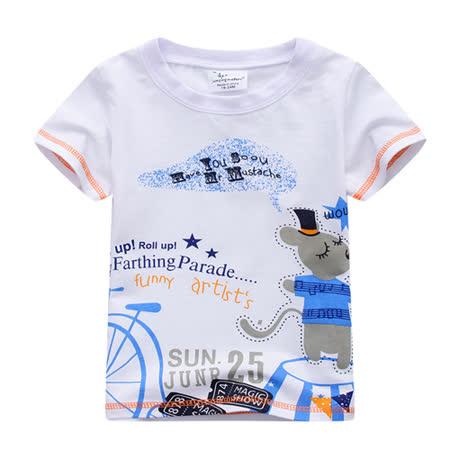 上衣 男童 马戏团鼠 欧美经典儿童纯棉短袖T恤(T075)