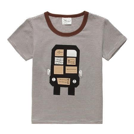 上衣 男童 条纹俏皮车 欧美经典儿童纯棉短袖T恤(T076)