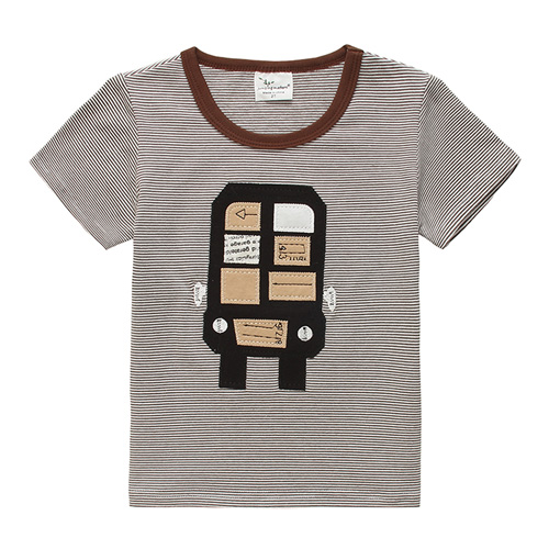 上衣 男童 條紋俏皮車 歐美經典兒童純棉短袖T恤(T076)