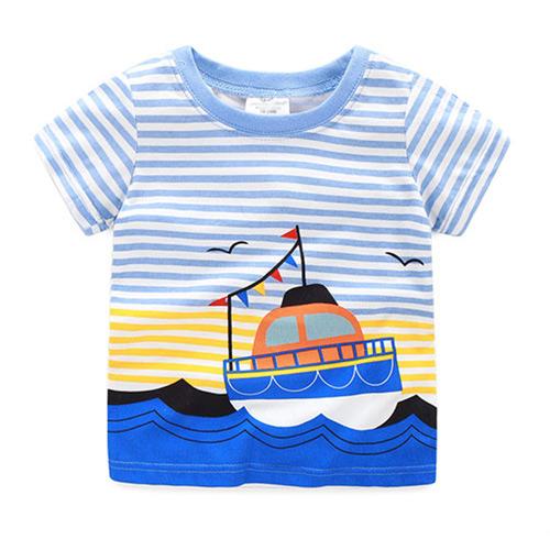 上衣 男童 多彩條紋船 歐美經典兒童純棉短袖T恤(T078)