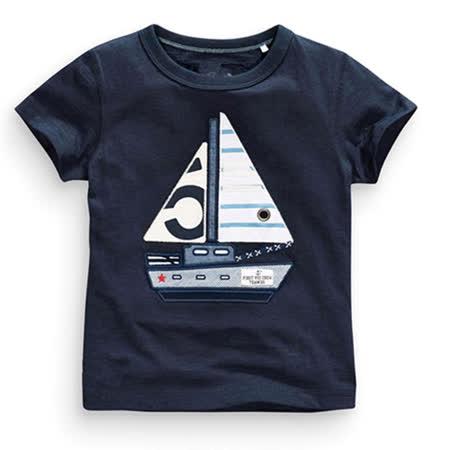 上衣 男童 帆船 欧美经典儿童纯棉短袖T恤(T079)
