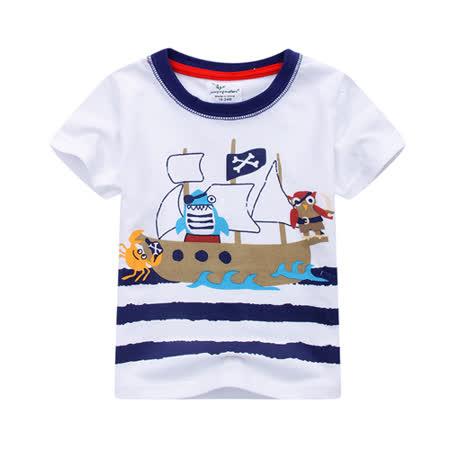 上衣 男童 动物海盗 欧美经典儿童纯棉短袖T恤(T080)