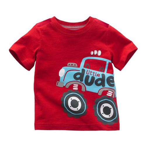上衣 男童 彈跳車 歐美經典兒童純棉短袖T恤(T081)