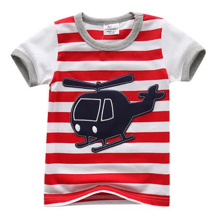 上衣 男童 条纹直升机 欧美经典儿童纯棉短袖T恤(T083)