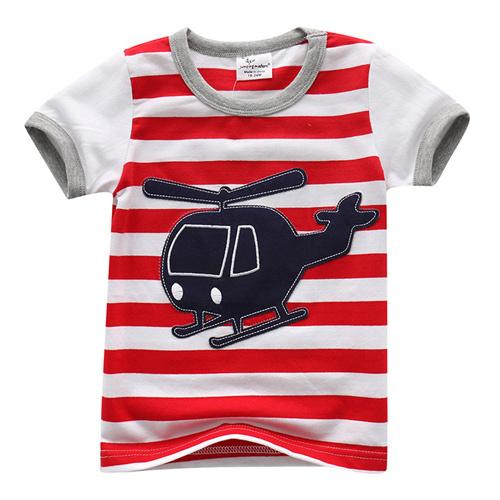 上衣 男童 條紋直升機 歐美經典兒童純棉短袖T恤(T083)
