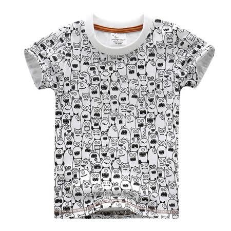 上衣 男童 满版小怪兽 欧美经典儿童纯棉短袖T恤(T087)