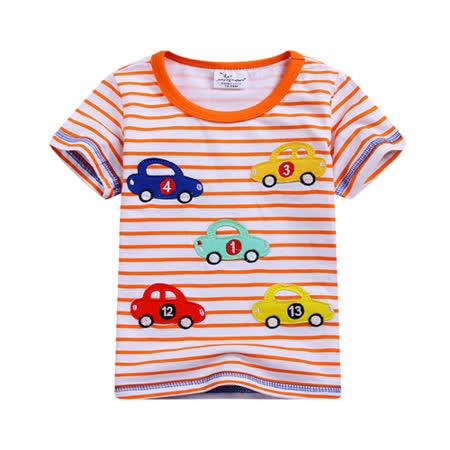 上衣 男童 条纹数字车 欧美经典儿童纯棉短袖T恤(T090)