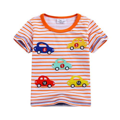 上衣 男童 條紋數字車 歐美經典兒童純棉短袖T恤(T090)