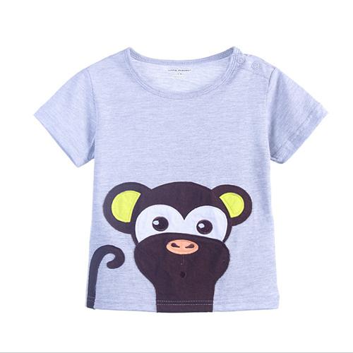 上衣 男童 捲尾猴 歐美經典兒童純棉短袖T恤(T094)