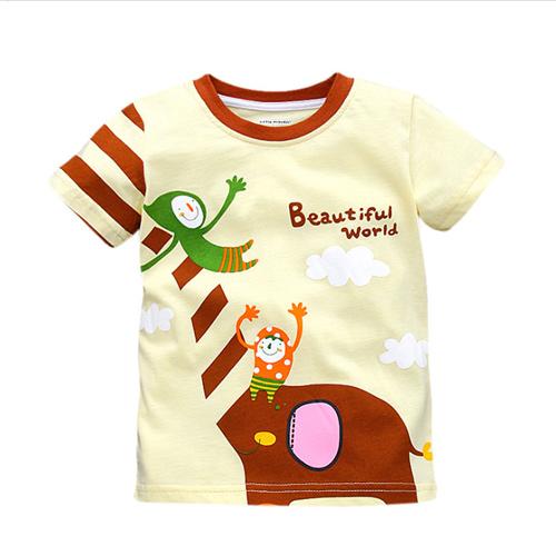 上衣 男童 大象溜滑梯 歐美經典兒童純棉短袖T恤(T096)