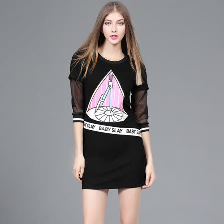 【M2M】時尚印花拼接網紗袖子中裙洋裝