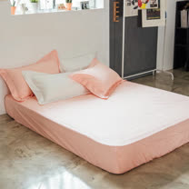 LAMINA 純色-裸粉橘 精梳棉床包(單人)