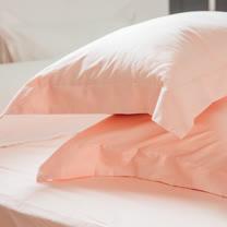 LAMINA 純色-裸粉橘 精梳棉枕頭套-2入