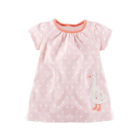 上衣 女童 粉嫩點點鵝 歐美經典兒童純棉短袖T恤(T101)