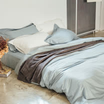 LAMINA 純色-淺灰藍 精梳棉三件式被套床包組(單人)