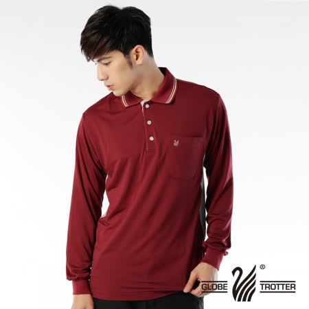 【遊遍天下】MIT台灣製男款運動休閒抗UV吸濕排汗機能POLO長衫L075磚紅/灰