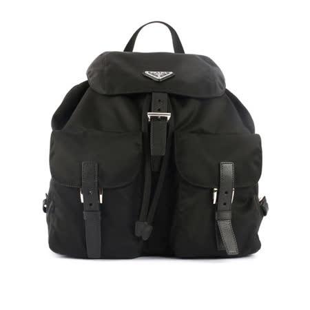【PRADA】三角牌尼龍帆布雙口袋後背包(中)(黑色)
