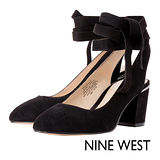 NINE WEST--圓頭粗跟後綁帶鞋--百搭黑
