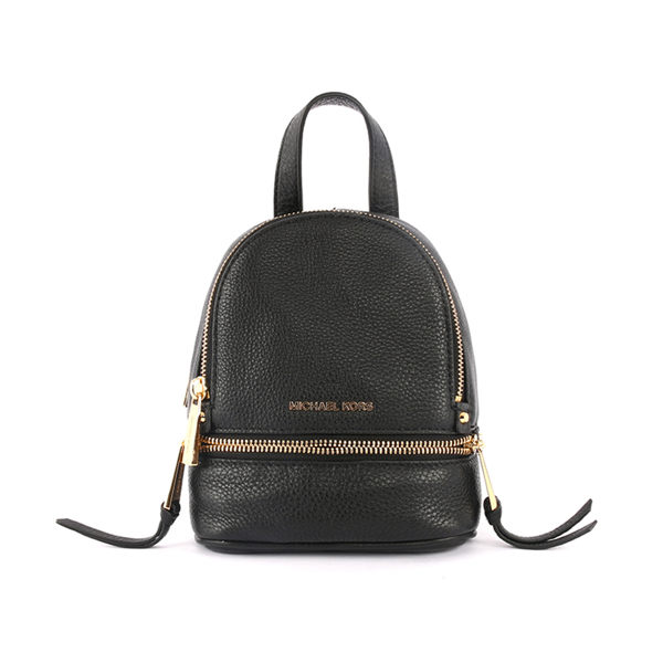 【MICHAEL KORS】黑色牛皮金色拉鍊後背包(mini)