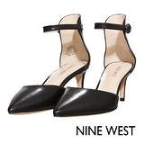 NINE WEST--百搭簡約踝帶尖頭高跟鞋--優雅黑