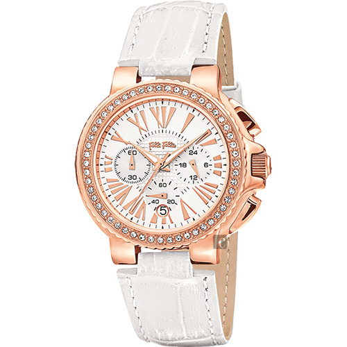 Folli Follie WATCHALICIOUS 羅馬晶鑽計時腕錶~白39mm WF1