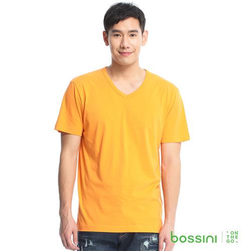bossini男裝~素色純棉V領T恤12橘