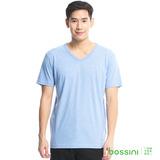bossini男裝-素色純棉V領T恤12淡藍
