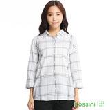 bossini女裝-格紋七分袖襯衫04灰白