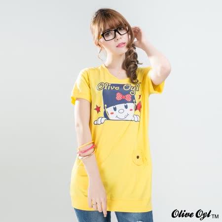 【Olive Oyl奧莉薇】貼鑽膠圖布蕾絲口袋長版上衣(共二色)