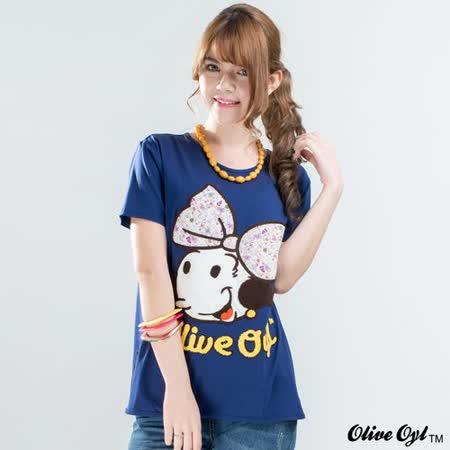 【Olive Oyl奧莉薇】縫布大圖側擺開衩彈性棉質T恤(深藍色)