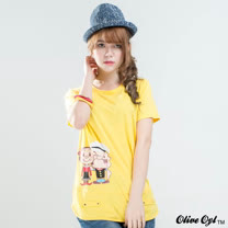 【Olive Oyl奧莉薇】膠圖拼接剪裁弧擺棉質T恤(共二色)