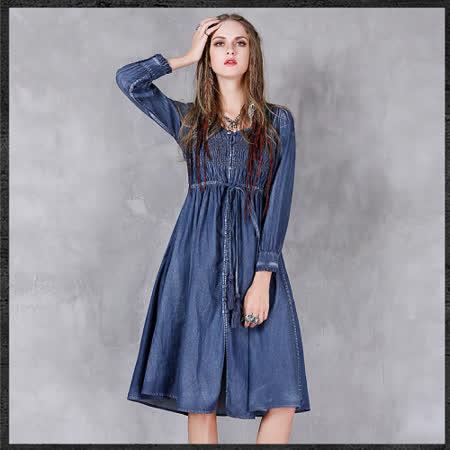 【維拉森森中大尺碼】簡約率性牛仔單寧連衣裙