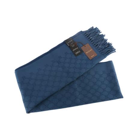 【GUCCI】GG jacquard wool scarf 雙面羊毛圍巾(藍色)
