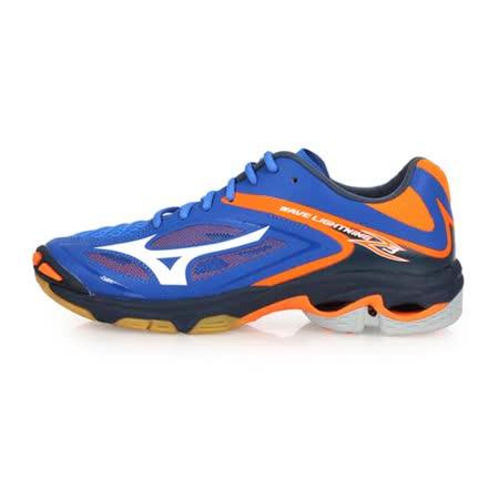 (男) MIZUNO WAVE LIGHTNING Z3 排球鞋-美津濃 藍螢光橘