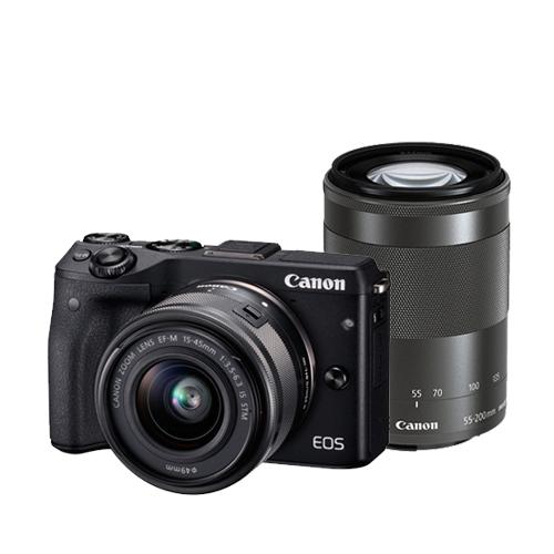 Canon EOS M3 EF-M 15-45mm+55-200mm 雙鏡組(黑色-公司貨)-送64G記憶卡+專用電池+專用座充+保護鏡X2+HDMI+遙控器+吹球清潔拭鏡筆組+防潮箱