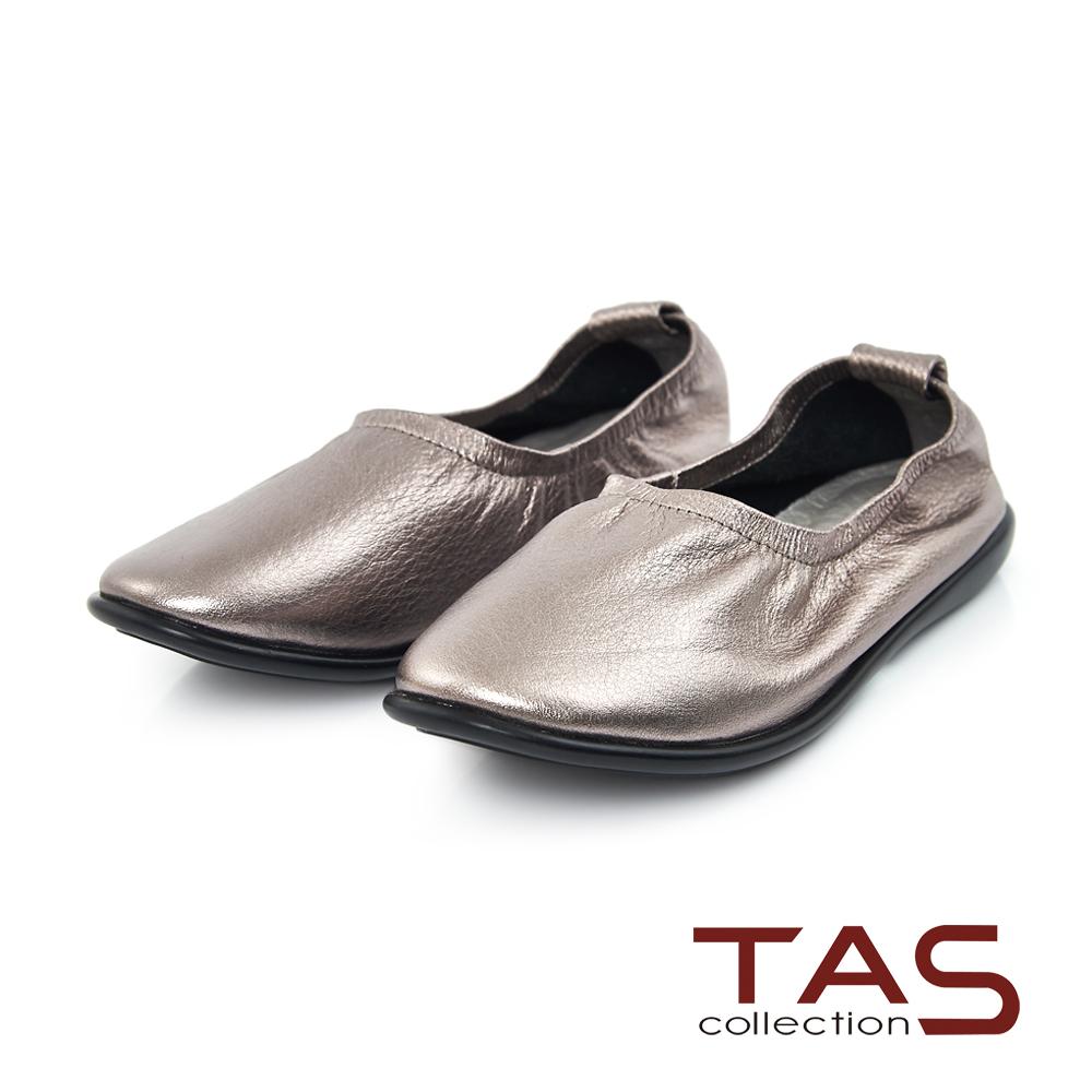 TAS 金屬感牛皮縮口休閒平底鞋-金屬灰