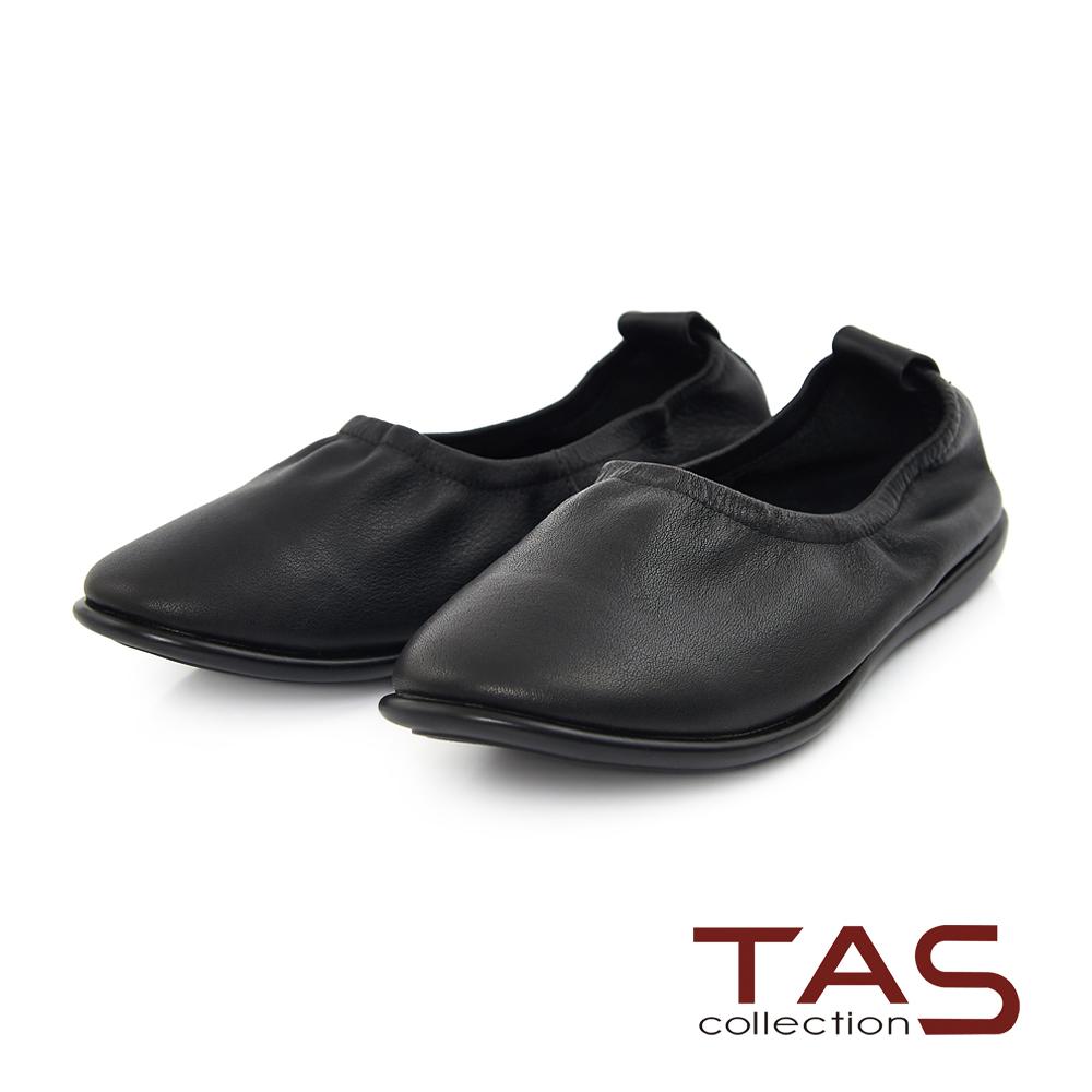 TAS 金屬感牛皮縮口休閒平底鞋-素雅黑