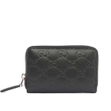 【GUCCI】牛皮壓紋ㄇ型拉鏈零錢包卡夾(黑色)