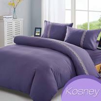 《KOSNEY   愛情海》吸溼排汗專利蕾絲單人床包被套組