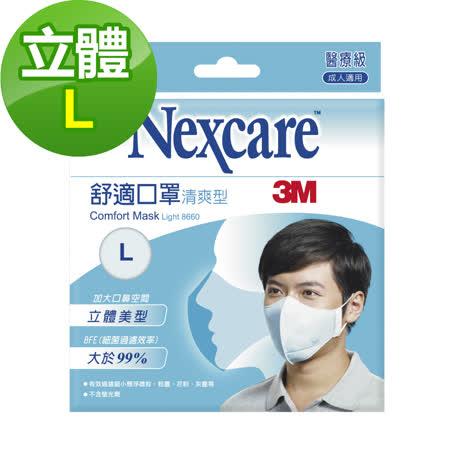 3M Nexcare 8660舒適口罩 輕爽型 拋棄式 5 片包(L)