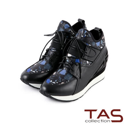 TAS 太妃Q系列 印花彈力布拼接綁帶厚底內增高休閒鞋-率性黑