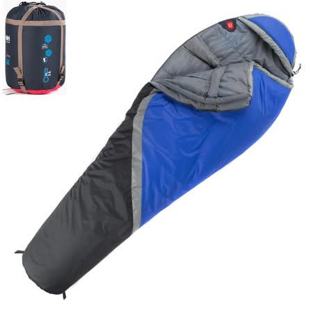 PUSH! 登山戶外用品 300克防風防潑水四季空調被可拼接木乃伊睡袋P76-3藍色