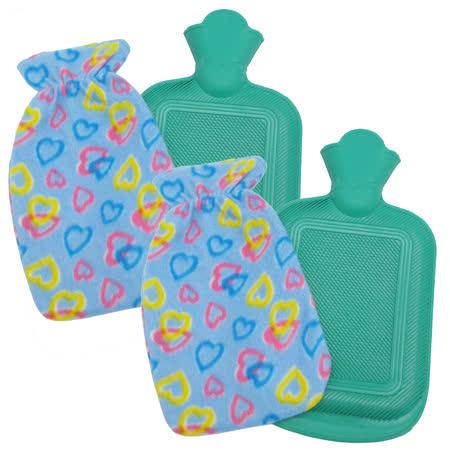 月陽時尚花紋小號冰熱兩用保暖水袋熱水袋送絨布套超值2入(00252)