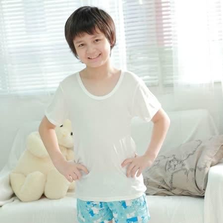 【Anny pepe】精梳美國棉男童短袖內衣-白