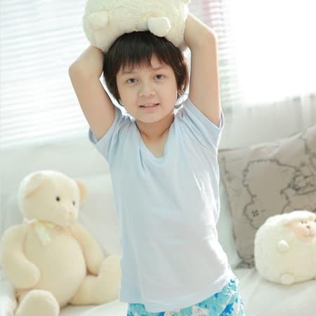 【Anny pepe】精梳美國棉男童短袖內衣-淺藍